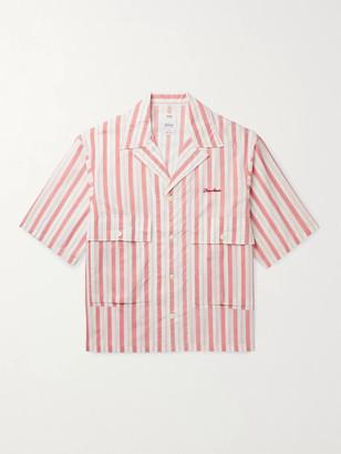 Visvim Camp-Collar Embroidered Striped Cotton Shirt