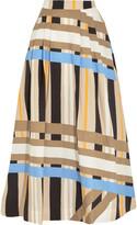 MSGM Pleated printed cotton-poplin maxi skirt