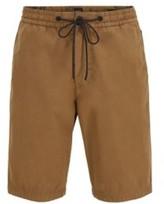 HUGO BOSS - Regular Fit Shorts In Cotton Poplin With Drawstring Waist - Light Yellow