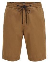 HUGO BOSS Regular Fit Shorts In Cotton Poplin With Drawstring Waist - Dark Blue