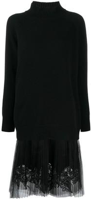 Ermanno Scervino Sheer Panel Cashmere Dress