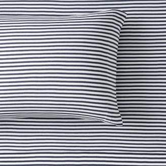 Pottery Barn Teen Favorite Tee Striped Sheet Set, Twin/Twin XL, Heathered Navy/White