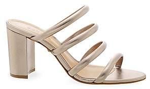 Schutz Women's Felisa Strappy Metallic Leather Mules