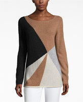 Charter Club Petite Cashmere Colorblocked Sweater, Only at Macy's
