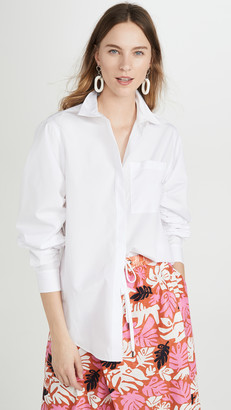 3.1 Phillip Lim Long Sleeve Overprint Shirt with Gathered Sleeves