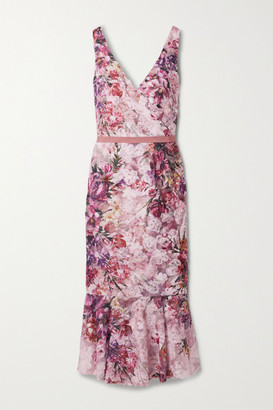 Marchesa Appliqued Floral-print Tulle Midi Dress - Blush