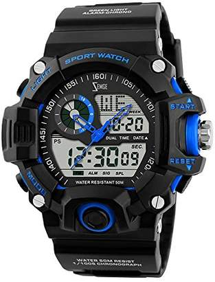ZEMGE Mens Watch Analogue Digital 50M Waterproof Military Sport Big Face Dual Dial Business Casual Multifunction LCD Back Light Electronic Wrist Watches Shock Resistant Wristwatch ZS1021