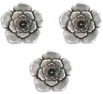 Stratton Home Decor Set Of 3 Silver Metal Wall Flowers