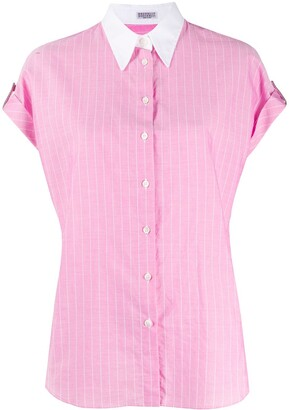 Brunello Cucinelli Pinstriped Short-Sleeve Shirt