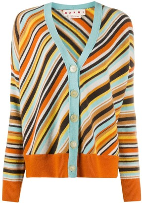 Marni Diagonal Stripe Knitted Cardigan