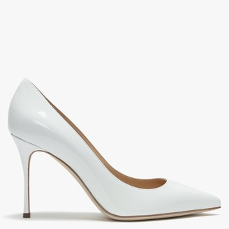 Sergio Rossi Godiva 90 White Patent Leather High Heel Court Shoes