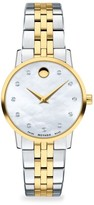 Movado Museum Mother-of-Pearl, Goldplated, Stainless Steel & Diamond-Trim Bracelet Watch