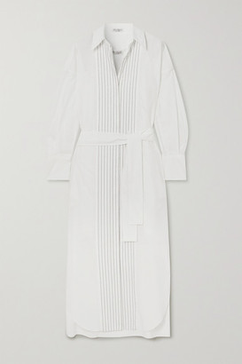 Brunello Cucinelli Belted Bead-embellished Cotton-poplin Midi Shirt Dress - White