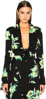 Proenza Schouler Printed Crepe Georgette Top in Black & Green Lilly Print