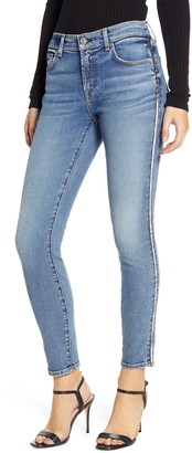 7 For All Mankind Metallic Chevron Sides Ankle Skinny Jeans