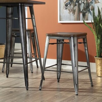 """Gracie Oaks Grasmere Bar & Counter Stool Color: Gunmetal/Walnut, Seat Height: Counter Stool (26"""" Seat Height)"""