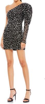 Mac Duggal Bejeweled One-Shoulder Cocktail Dress