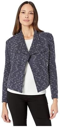Calvin Klein Tweed Flyaway Jacket (Blue Multi) Women's Coat