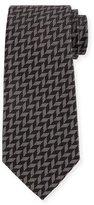 Armani Collezioni Woven Zigzag Silk Tie, Black