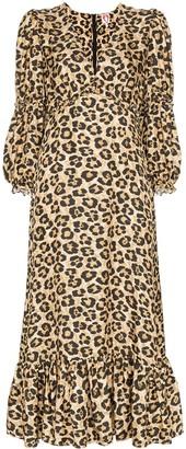 Shrimps Rosemary leopard-print midi dress
