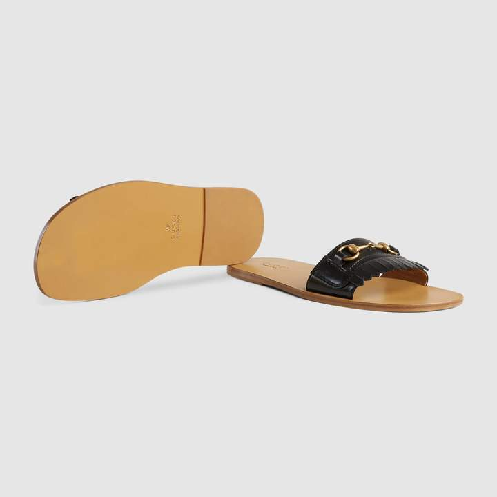 Gucci Fringe leather Horsebit slide
