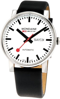 Mondaine Swiss Made EvoBig White DayDate Automatic Dial Polished Stainless Steel 40mm Case Black Leather Strap Watch