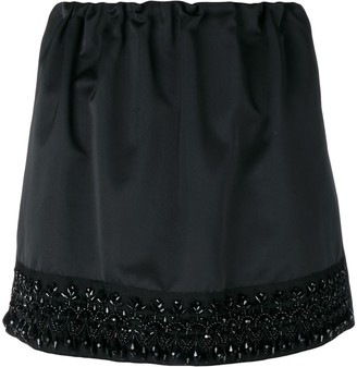 No.21 Bead-Embroidered Trim Miniskirt