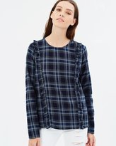 Only Alice Frill Check Denim Shirt