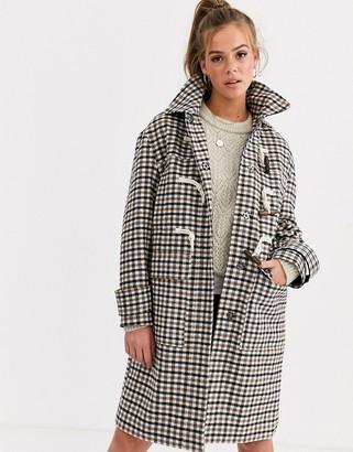 ASOS DESIGN check duffle coat