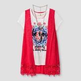 Self Esteem Girls' Vest with Flared Leggings - Hibiscus