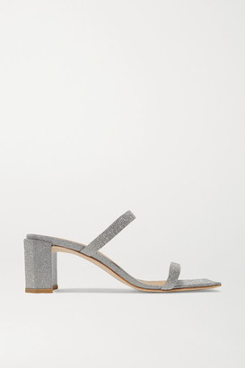BY FAR Tanya Glittered Leather Mules - Silver