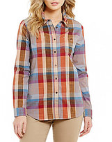 Pendleton Point Collar Long Sleeve Shirttail Hem Plaid Shirt