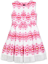 Oscar de la Renta Cotton Ikat Eyelet-Trim Party Dress, Pink, Size 2-14