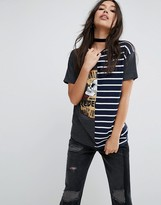 Asos T-Shirt with Cutabout Print and Stripe