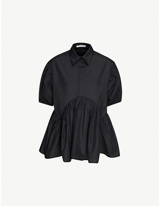 Cecilie Bahnsen Ellie collared puff-sleeved cotton top
