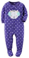 Carter's Zip-Front Polka Dot Mouse Fleece Footed Pajama in Purple