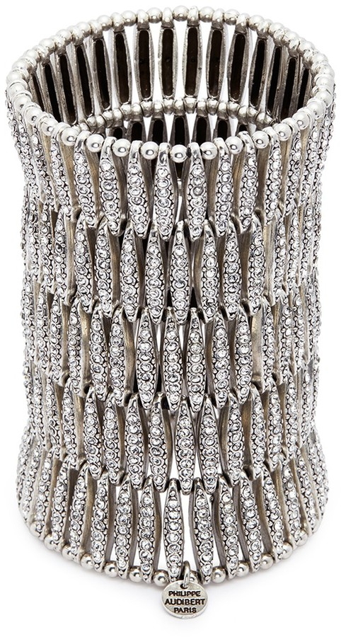 Philippe Audibert 'Almond' Swarovski crystal five row plate elastic bracelet