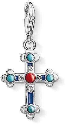 Thomas Sabo Women Charm Pendant Ethnic Cross 925 Sterling Silver, Blue Enamelled 1466-335-7