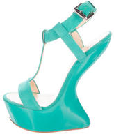 Giuseppe Zanotti Suede Concave Wedge Sandals