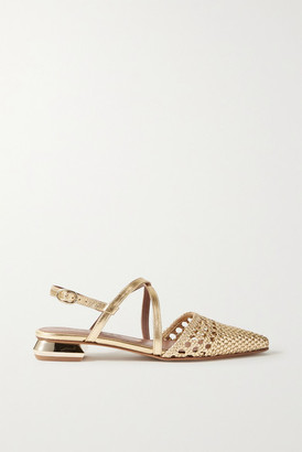 Souliers Martinez Es Verda Woven Metallic Leather Point-toe Flats - Gold
