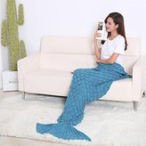 Newest Handmade Mermaid Tail Blanket, Warm and Soft with Scales Pattern for Adult Snuggled Upon the Sofa in Sweet Night (74'' x 35'')