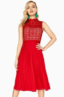 Little Mistress Alice Red Sleeveless Crochet Top Midi Dress With Pleated Skirt