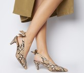 Office Memo Pointed Slingback Heels Natural Snake