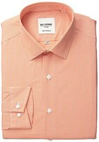 Ben Sherman Men's Gingham Shirt with Spread Collar, Orange, 15.5 32/33