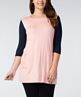 Rose Color Block Side-Pocket Tunic - Plus