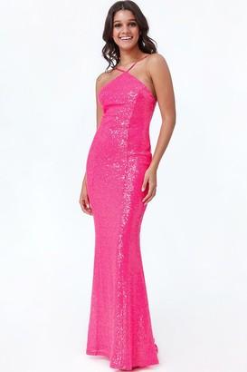 Goddiva Cerise Low Back Sequin Halter Maxi Dress
