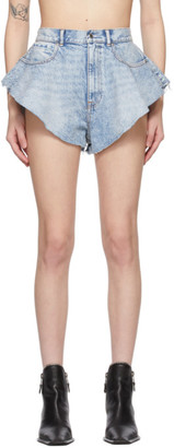 Alexander Wang Blue Denim Ruffled Shorts