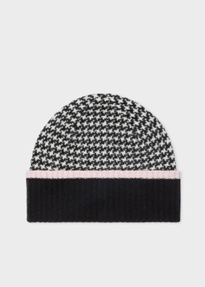 Women's Black And White Houndstooth Wool Beanie Hat