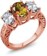 Gem Stone King 4.80 Ct Oval Mango Mystic Topaz 18K Rose Gold Plated Silver Ring