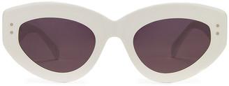 Alaia Cat Eye Sunglasses in Shiny White & Grey | FWRD